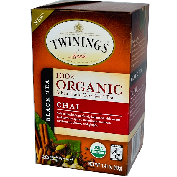 Twinings, 100% органический черный чай, 20 пакетиков, 1,41 унции (40 г)