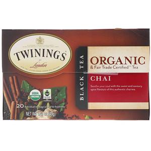 Твайнингс, Organic Black Tea, Chai, 20 Tea Bags, 1.41 oz (40 g) отзывы