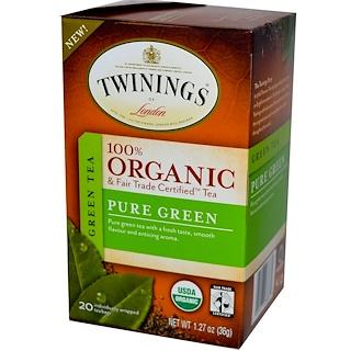 Twinings, 100%有機綠茶,純綠茶,20茶袋,1.27盎司(36克)