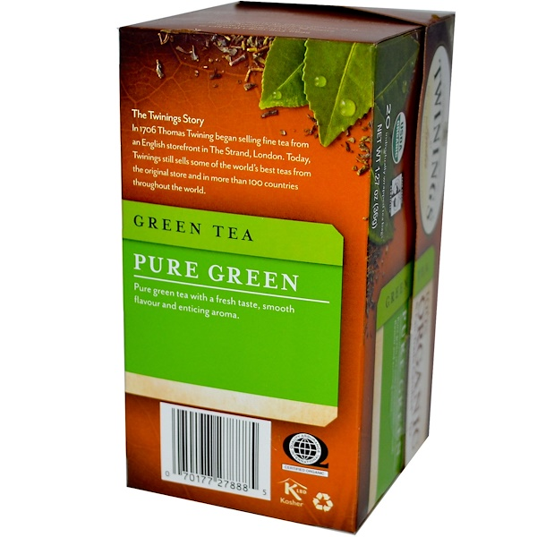 Twinings, 100% Organic Green Tea, Pure Green, 20 Tea Bags, 1.27 oz (36 g) (Discontinued Item)