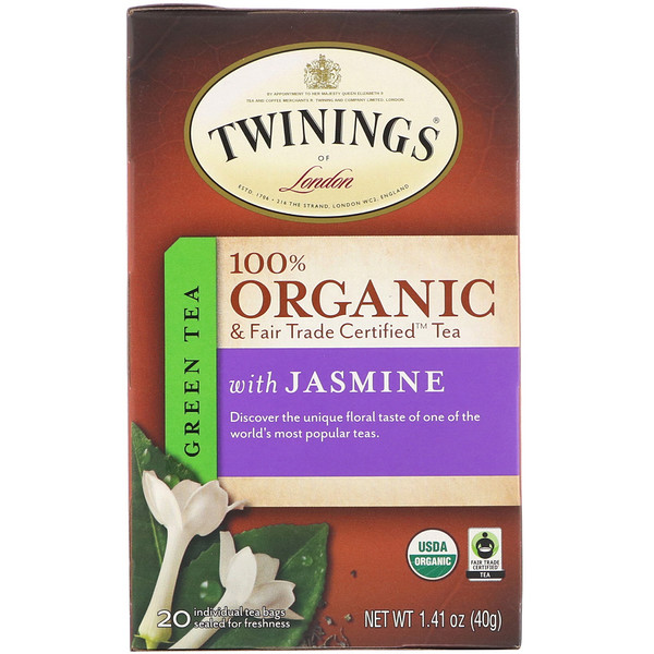 Twinings, 100% Organic Green Tea with Jasmine, 20 Tea Bags, 1.41 oz (40 g) (Discontinued Item)