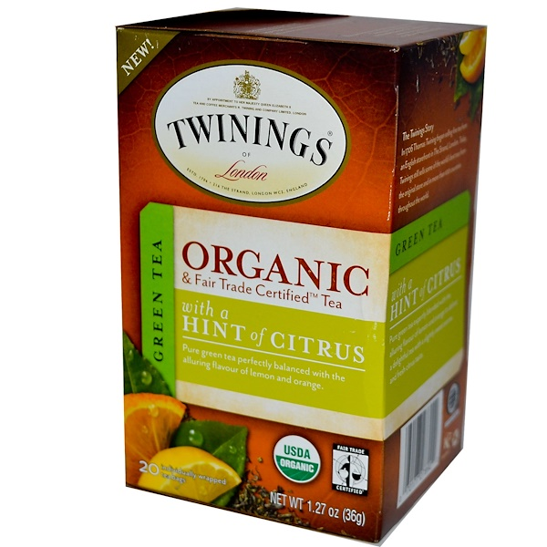 Twinings, Organic Green Tea with a Hint of Citrus, 20 Tea Bags, 1.27 oz (36 g) (Discontinued Item)