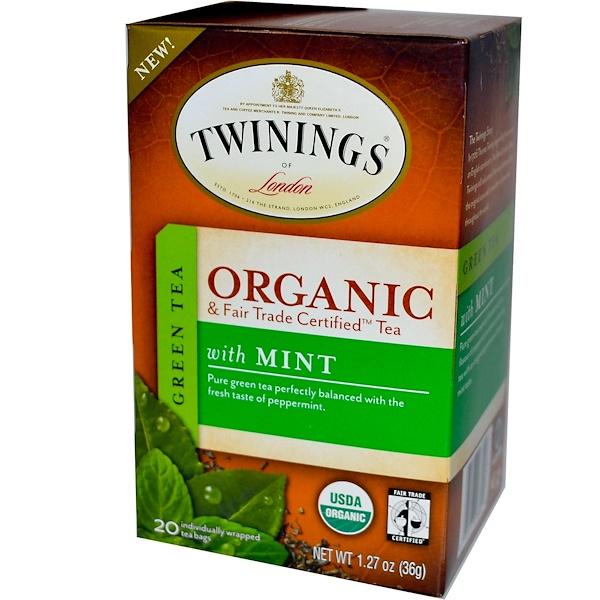 Twinings, Органический зеленый чай с мятой, 20 пакетиков, 1,27 унции (36 г) (Discontinued Item)