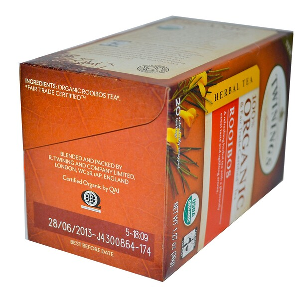 Organic Herbal Tea, Rooibos, 20 Tea Bags, 1.27 oz (36 g)