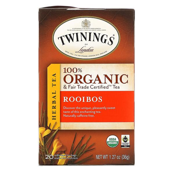 100% Organic & Fair Trade Certified Herbal Tea, 100% Bio & Fair Trade Certified Kräutertee, Rooibos, 20 Teebeutel, 36 g (1,27 oz.)