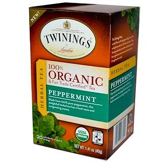 Twinings, 100%有機草本茶,薄荷,20茶袋,1.41盎司(40克)