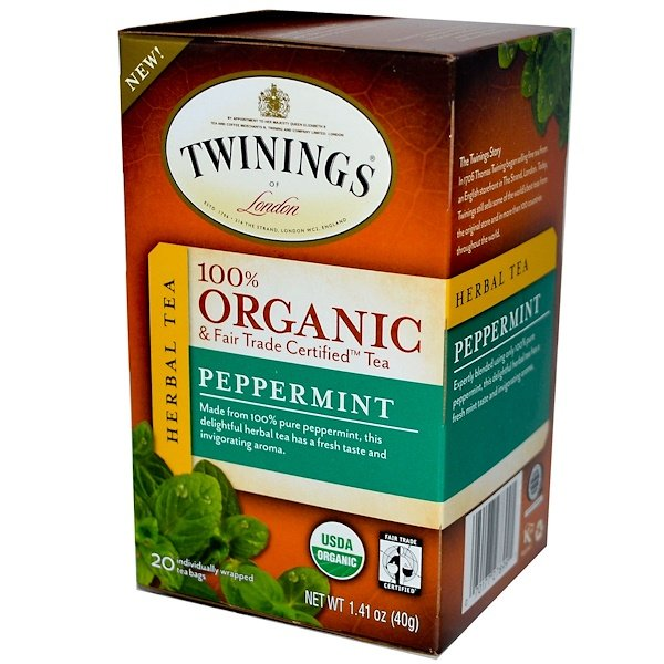 Twinings, 100% Organic Herbal Tea, Peppermint, 20 Tea Bags, 1.41 oz (40 g) (Discontinued Item)