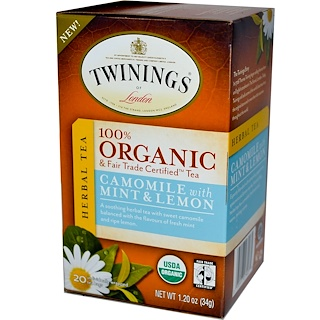 Twinings, Organic & Fair Trade Certified Tea, Nightly Calm, 20 Tea Bags, 1.20 oz (34 g)