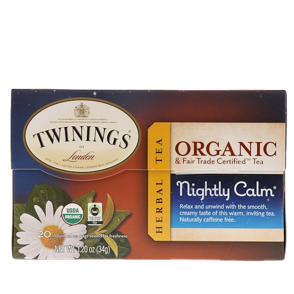 Twinings, Herbal Tea, Nightly Calm, 20 Individual Tea Bags, 1.20 oz (34 g) (Discontinued Item)