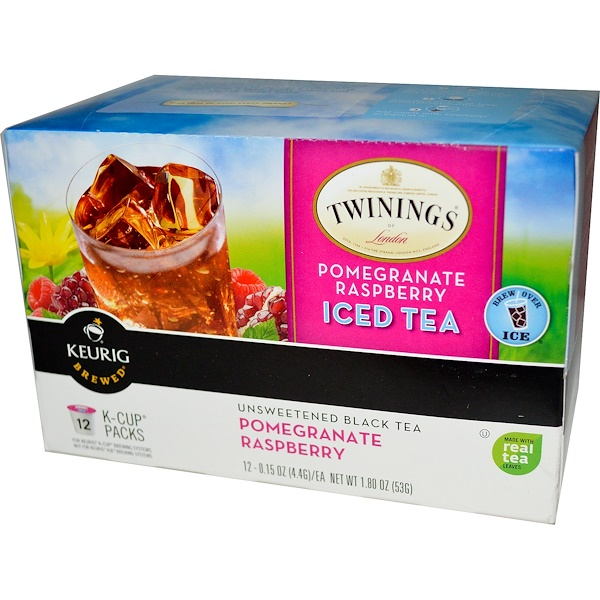 Twinings, Keurig, Pomegranate Raspberry Iced Tea, Unsweetened, 12 K-Cups, 0.15 oz (4.4 g) Each (Discontinued Item)