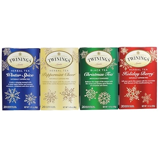 Twinings, Seasonal Tea Variety Pack, Special Edition, Holiday, 4 Boxes, 20 Tea Bags Each