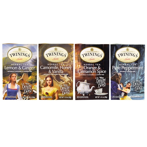 Twinings, Herbal Tea Variety Pack, Special Edition, Beauty and the Beast, 4 Boxes, 20 Tea Bags Each (Discontinued Item)