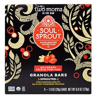 Two Moms in the Raw, Soul Sprout, Granola Bars, Gojiberry Triple Yum-Yum, 6 Bars, 1 oz (28 g) Each