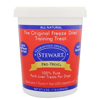 Stewart, Pro-Treat, Freeze Dried Treats, For Dogs, Pork Liver, 4 oz (113.4 g)