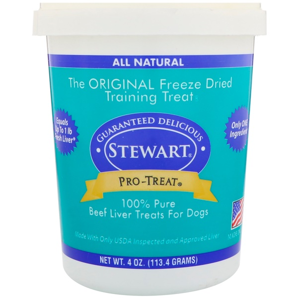 Stewart, Pro-Treat, Freeze Dried Treats, For Dogs, Beef Liver, 4 oz (113.4 Grams)