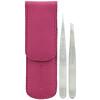 Tweezerman, ピンクのレザーケース付きペティピンセット、1セット