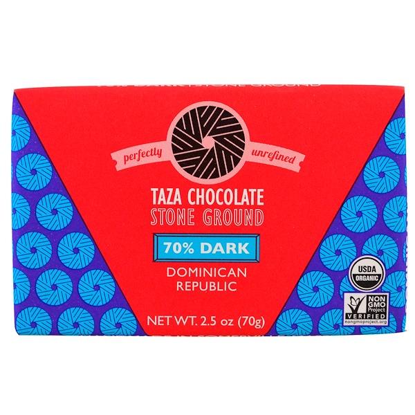 Taza Chocolate, Organic, 70% Dark Stone Ground Chocolate Bar, Dominican Republic, 2.5 oz (70 g) (Discontinued Item)