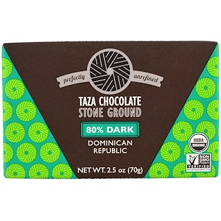 Taza Chocolate, Organic, 80% Dark Stone Ground Chocolate Bar, Dominican Republic, 2.5 oz (70 g)