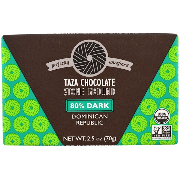 Taza Chocolate, Organic, 80% Dark Stone Ground Chocolate Bar, Dominican Republic, 2.5 oz (70 g) (Discontinued Item)