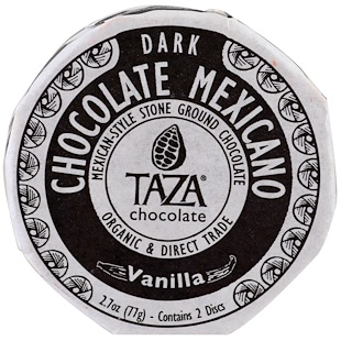 Taza Chocolate, Vanilla, 50% Dark Stone Ground Organic, Chocolate Mexicano Discs, 2 Discs, 2.7 oz (77 g)