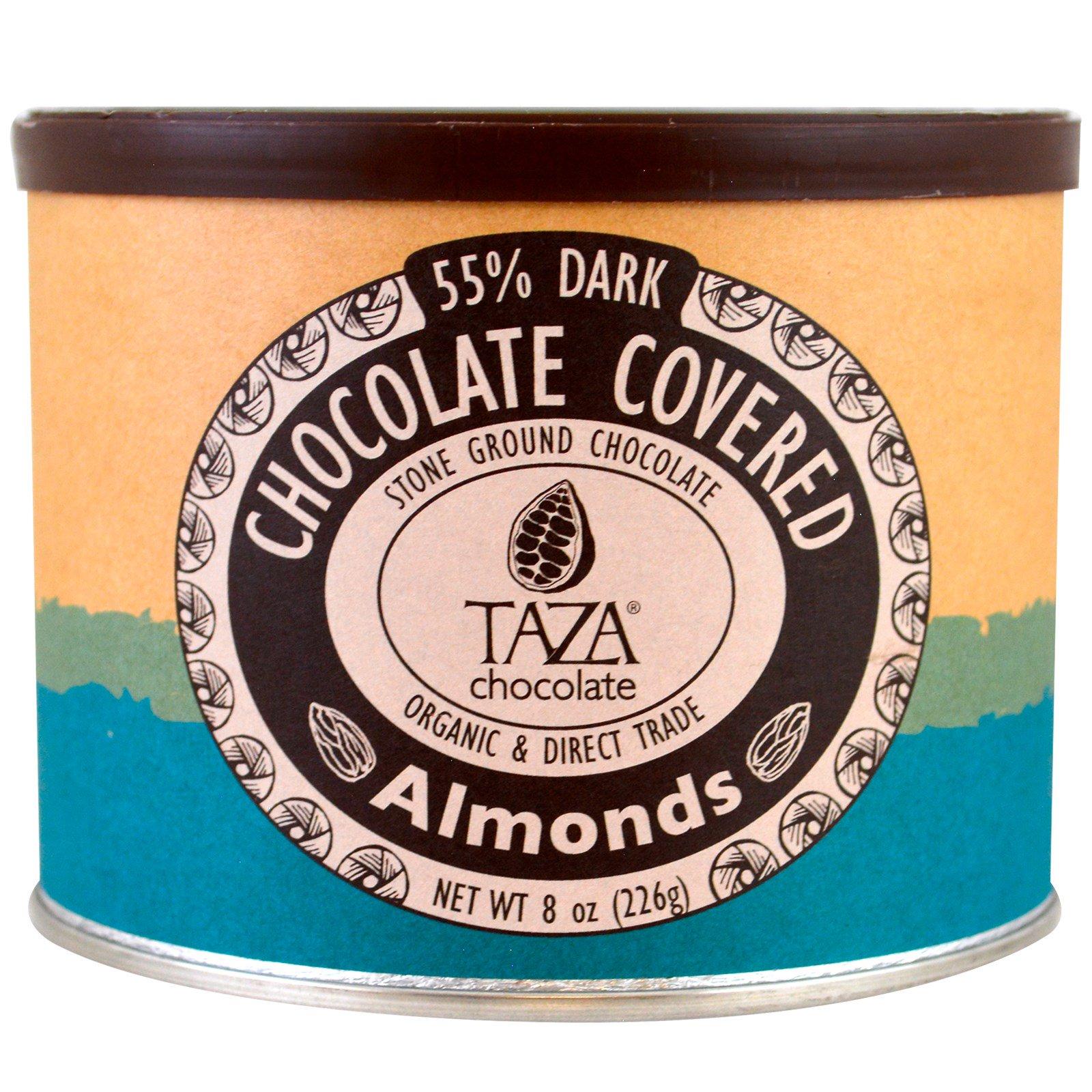 Taza Chocolate, Органический темный шоколад 55% жернового помола, миндаль в шоколаде, 226 г (8 унций)