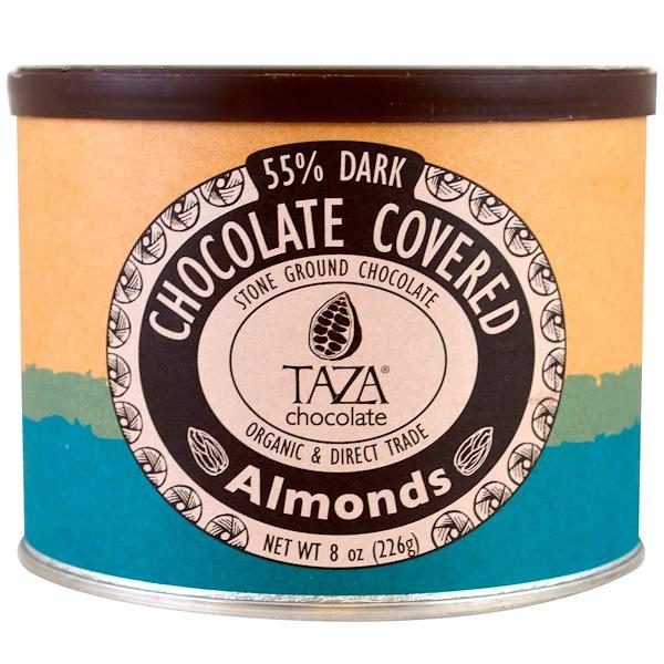 Taza Chocolate, オーガニック、55%ダークストーングランドチョコレート、チョココーティングしたアーモンド、8 oz (226 g) (Discontinued Item)