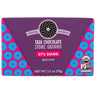 Taza Chocolate, オーガニック、87%ダークストーン グラウンドチョコレートバー、ボリビア、2.5 oz (70 g)