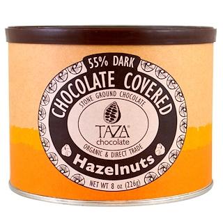 Taza Chocolate, オーガニック、55%ダークストーングランドチョコレート、チョココーティングしたヘーゼルナッツ、 8 oz (226 g)