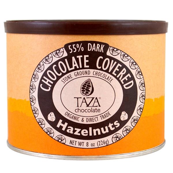 Taza Chocolate, オーガニック、55%ダークストーングランドチョコレート、チョココーティングしたヘーゼルナッツ、 8 oz (226 g) (Discontinued Item)