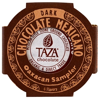 Taza Chocolate, Chocolate Mexicano, Dark Stone Ground Organic Discs, Oaxacan Sampler, 4 Flavor Discs, 1.35 oz Each