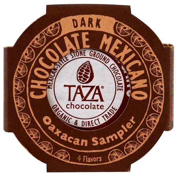 Taza Chocolate, Chocolate Mexicano, Dark Stone Ground Organic Discs, Oaxacan Sampler, 4 Flavor Discs, 1.35 oz Each (Discontinued Item)