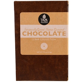 Taza Chocolate, Seriously Good Stone Ground Organic Chocolate, 3 Bar Collection, 2.5 oz Each