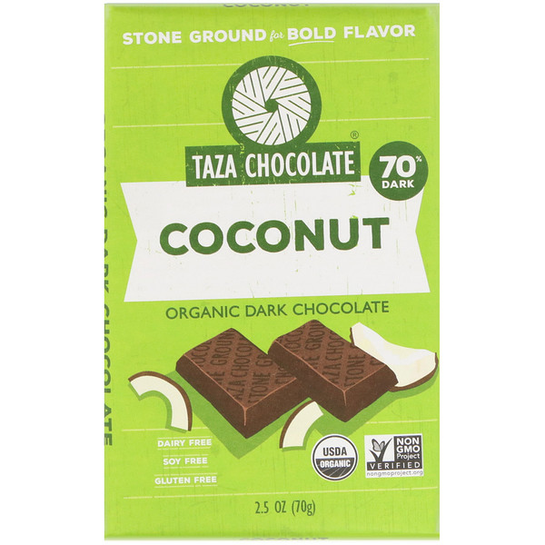 Taza Chocolate, Organic Dark Chocolate, Coconut, 2.5 oz (70 g) (Discontinued Item)