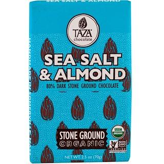 Taza Chocolate, オーガニック、80%ダーク・ストーングラウンドチョコレートバー、シーソルト&アーモンド、2.5 oz (70 g)