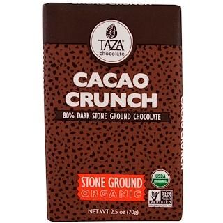 Taza Chocolate, Organic, 80% Dark Stone Ground Chocolate Bar, Cacao Crunch, 2.5 oz (70 g)