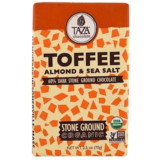 Taza Chocolate, Organic, 60% Dark Stone Ground Chocolate Bar, Toffee, Almond & Sea Salt, 2.5 oz (70 g)