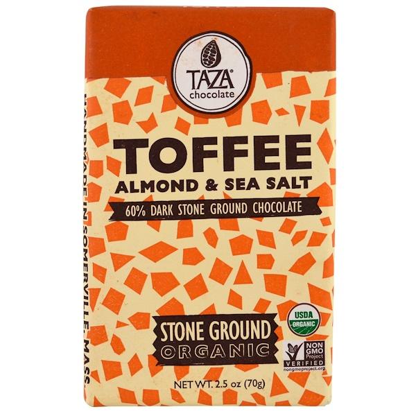 Taza Chocolate, Organic, 60% Dark Stone Ground Chocolate Bar, Toffee, Almond & Sea Salt, 2.5 oz (70 g)