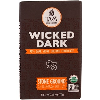 Taza Chocolate, Organic, 95% Dark Stone Ground Chocolate Bar, Wicked Dark, 2.5 oz (70 g)
