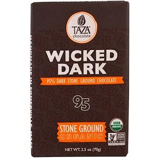 Taza Chocolate, オーガニック、95%ダーク石臼挽きチョコレートバー、 ウィキッドダーク、2.5 oz (70 g)