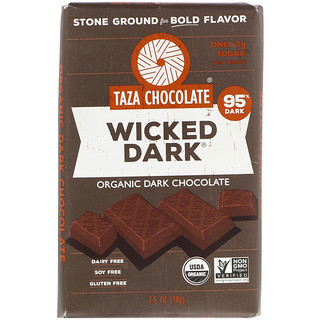Taza Chocolate, Organic Dark Chocolate, Wicked Dark, 2.5 oz (70 g)