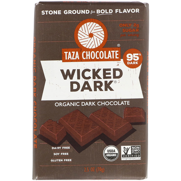 Taza Chocolate, Organic Dark Chocolate, Wicked Dark, 2.5 oz (70 g) (Discontinued Item)