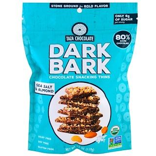 Taza Chocolate, Organic, 80% Dark Bark Chocolate Snacking Thins, Sea Salt & Almond, 4.2 oz (119 g)