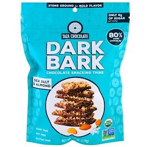Таза Чоколат, Organic, 80% Dark Bark Chocolate Snacking Thins, Sea Salt & Almond, 4.2 oz (119 g) отзывы