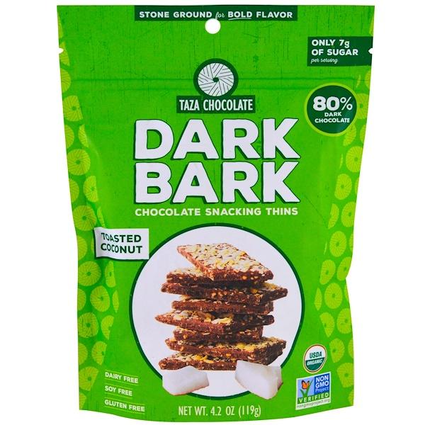 Taza Chocolate, Organic, 80% Dark Bark Chocolate Snacking Thins, Toasted Coconut, 4.2 oz (119 g)