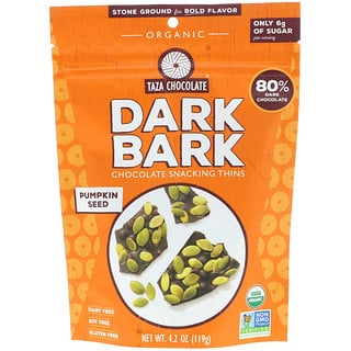 Taza Chocolate, Organic, 80% Dark Bark Chocolate Snacking Thins, Pumpkin Seed, 4.2 oz (119 g)