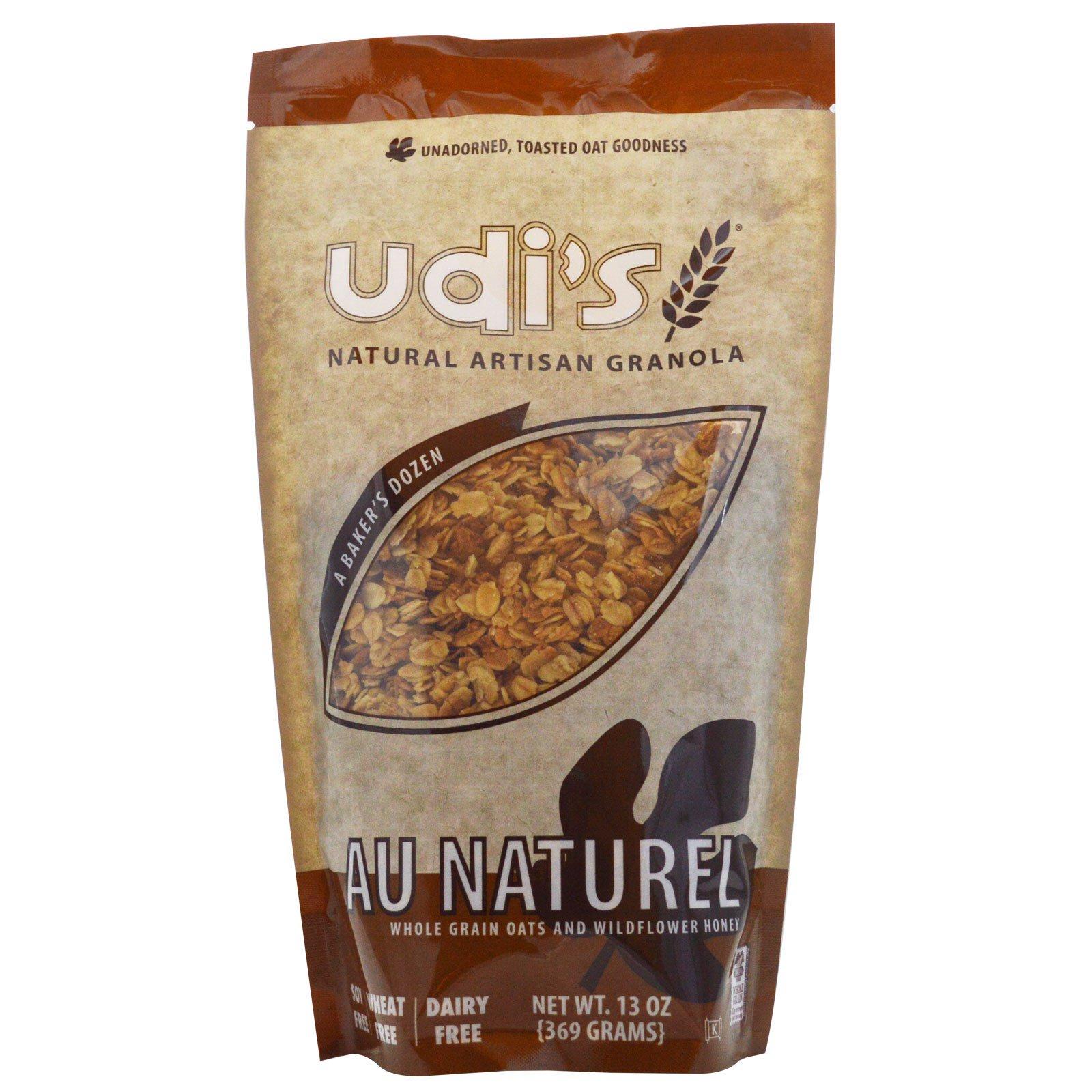 Udi's, Au Naturel, Цельнозерновой овес с медом диких цветов 13 унции (369 г)