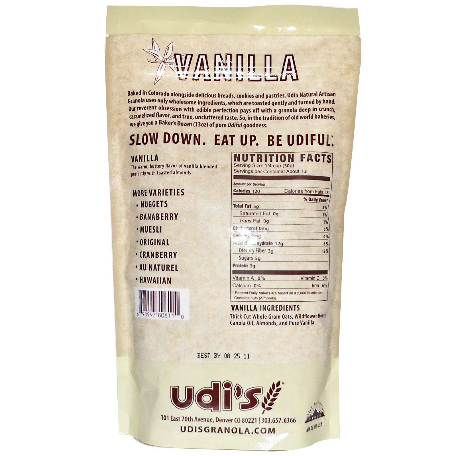 Udi's, Натуральная деревенская гранола, ваниль, 13 унций (369 г)