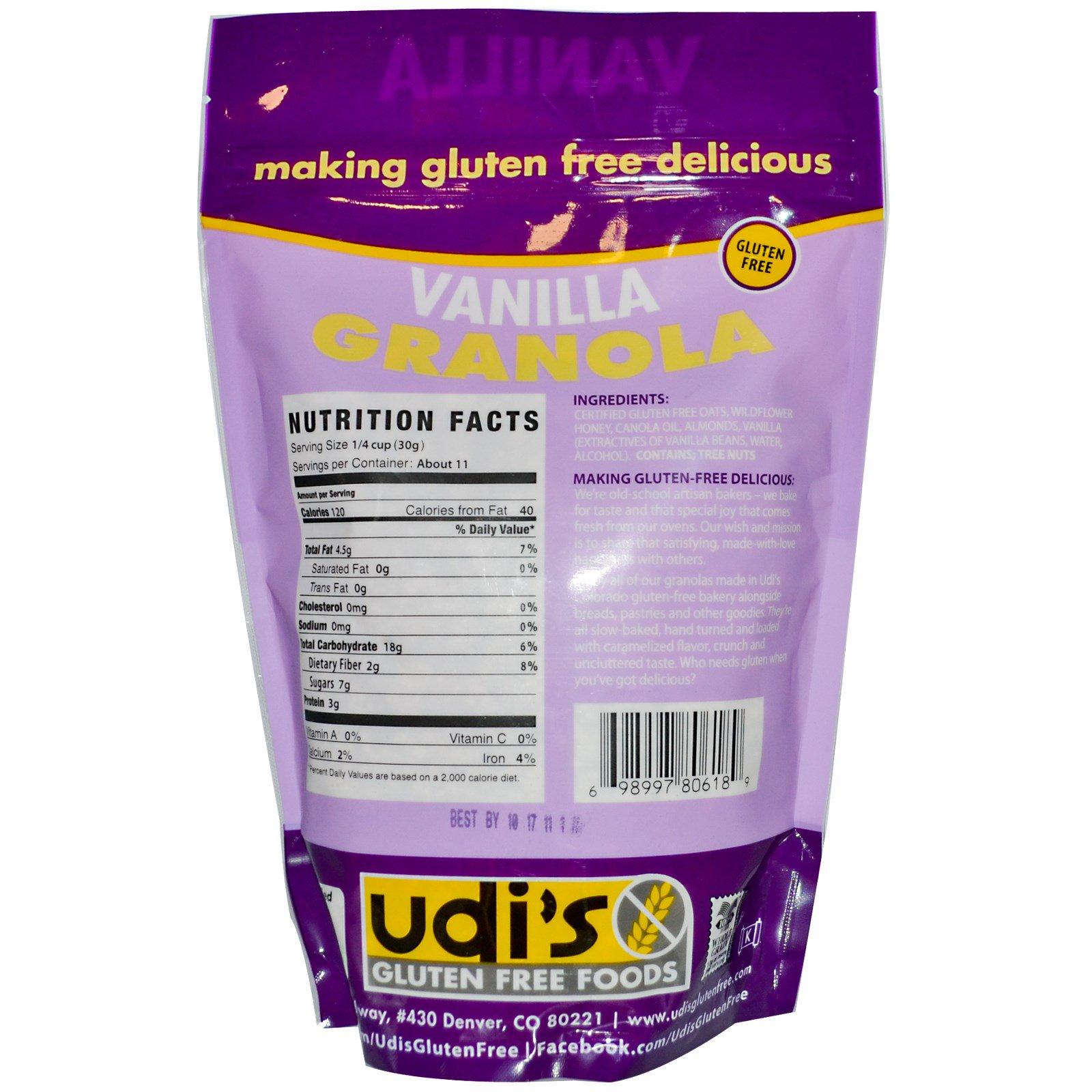 Udi's, Гранола без глютена, ваниль, 12 унций (340 г)