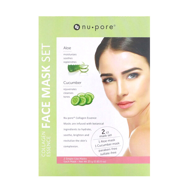 Collagen Essence Face Mask Set, Aloe & Cucumber, 2 Single-Use Masks, 0.85 fl oz (25 g) Each