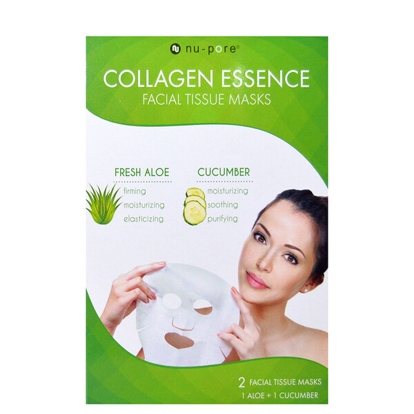 Nu-Pore, Collagen Essence Face Mask Set, Aloe & Cucumber, 2 Single-Use Masks, 0.85 fl oz (25 g) Each